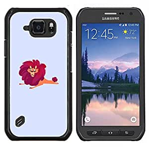 EJOOY---Cubierta de la caja de protección para la piel dura ** Samsung Galaxy S6Active Active G890A ** --Arte león salvaje grande de dibujos animados dibujo Rojo Safari