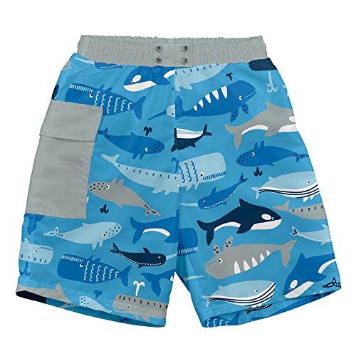 i play. Baby Boys Pocket Trunks w/Built-In Reusable Absorbent Swim Diaper, Blue Whale League, (Swim Diaper Suit)