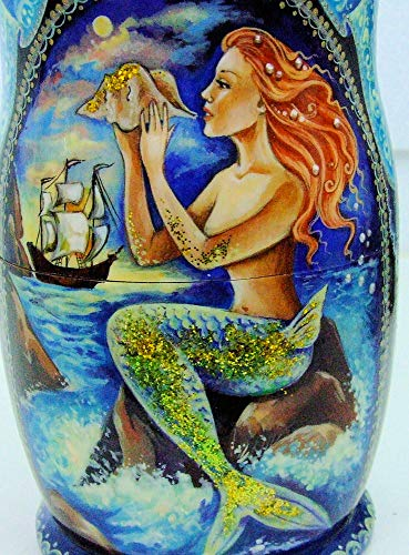 7pcs Hand Painted Russian Nesting Doll 'Mermaids by Ilyukova by Olga's Russian Collectibles (Image #5)