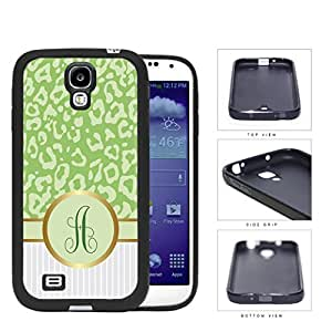Customized Green Leopard Pattern Animal Print with Gray and White Vertical Stripes on Bottom and Green Round Monogram in Center Outlined in Gold Rubber Silicone TPU Cell Phone Case Samsung Galaxy S4 SIV I9500