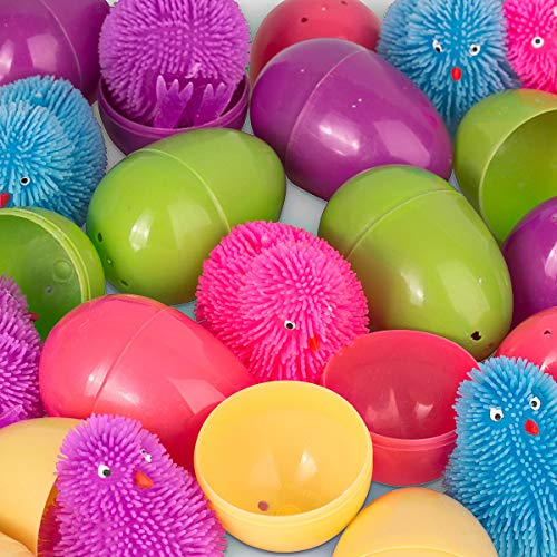 Easter Eggs with Puffer Chicks 12 Easters Eggs Filled with Squishy Toy Puffer Chickens - Tactile Fidget Sensory Toy Filled Easter Surprise Eggs - Perfect Easter Basket Stuffer - Novelty Stress Relief Toy Bulk Pack of 12 ()