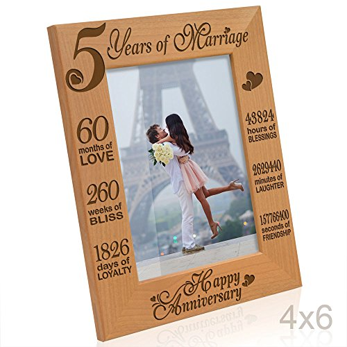 - Kate Posh - 5 Years of Marriage Photo Frame - Happy 5th Anniversary Gift Wood - Engraved Natural Solid Wood Picture Frame (4x6-Vertical)