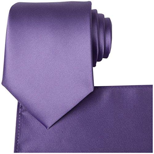 KissTies Lavender Tie Wedding Ties Mens Satin Necktie + Pocket Square