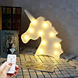 DELICORE Battery Operated Night Light LED Marquee Sign with Wireless Remote Control for Kids' Room, Bedroom, Gift, Party, Home Decorations(White Unicorn Head)