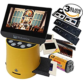 """Wolverine Titan 8-in-1 20MP High Resolution Film to Digital Converter with 4.3"""" Screen and HDMI output, Worldwide Voltage 110V/240V AC Adapter Plus (3) Wolverine Slide Trays (Bundle)"""