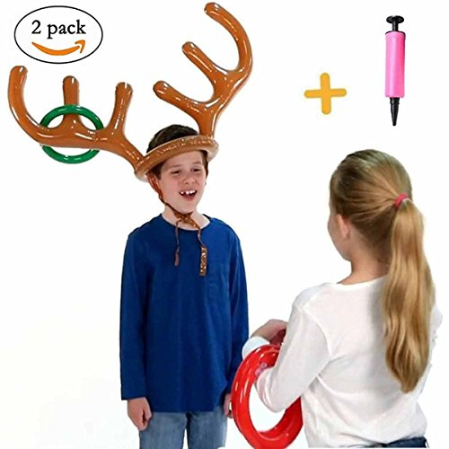 HANTAJANSS Ring Toss Game Reindeer Antler Inflatable Christmas Toys Summer Party Beach Pool Kids Water Game 2 Sets by HANTAJANSS