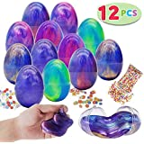 JOYIN 12 PCs Silly Fluffy Galaxy Slime Colorful Putty with Accessories for All Ages Kids, Stress Relief Sludge Toys, Prefilled Easter Theme Party Favor Supplies, Basket Stuffers, Great Family Games.