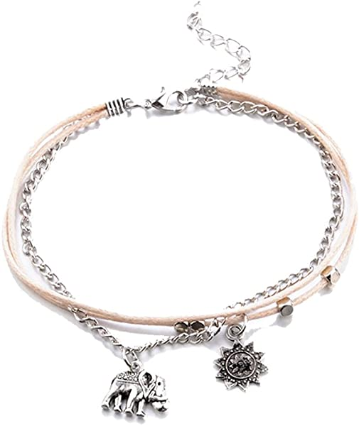 2aed13df6ac LUOEM Foot Jewelry Ankle Elephant Sun Bracelet Three Layered Anklet for  Women Girls  Amazon.co.uk  Jewellery