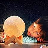 Moon Lamp, 3 Colors 3D Print Led Moon Night Light Lamps, USB Rechargeable & Touch Control Dimmable Moon Lamp with Stand, Creative Moon Light Room Decor for Kids Women Lover Birthday Gifts (3.9 inch)