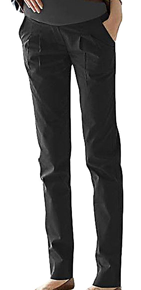 MTRNTY Women's Maternity High Elastic Waist Comfortable Elegant Office Pants, Black Large