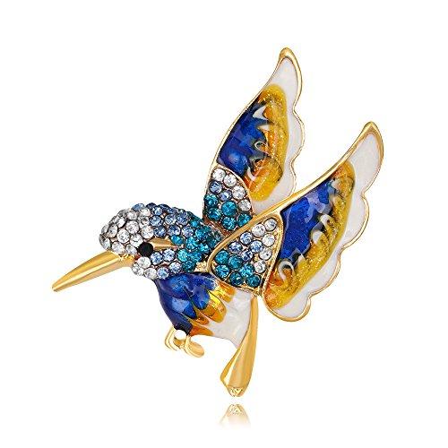 MIXIA Rhinestone Colorful Enamel Hummingbird Bird Brooch Animal Brooches Pin for Wedding Women Decoration Wild Animal Jewelry (Silver) ()