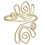 RechicGu Gold Tone Greek Aztec Swirl Paisley Bridal Bracelet Armband Upper Arm Cuff Armlet Belly Dance