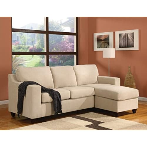 2 Pc Vogue Collection Beige Microfiber Reversible Apartment Size Sectional  Sofa With Chaise