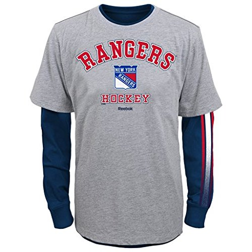 """NHL New York Rangers Youth Boys 8-20 """"Classic Fade"""" Combo Pack, Small, Heather Grey"""