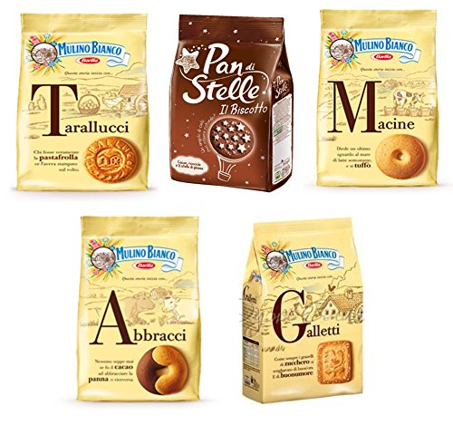 Italian Biscuits - Mulino Bianco:Assorted Biscuits * Total 61.72 Ounce (1750g) * Pack of 5 [ Italian Import ]