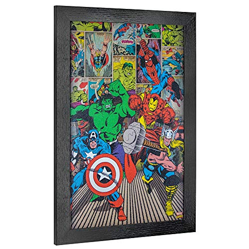 "Officially Licensed Marvel Comics Original Avengers Superheroes Comic Book Framed Wall Art (19"" H x 13"" L) (Original Comic Book Art)"