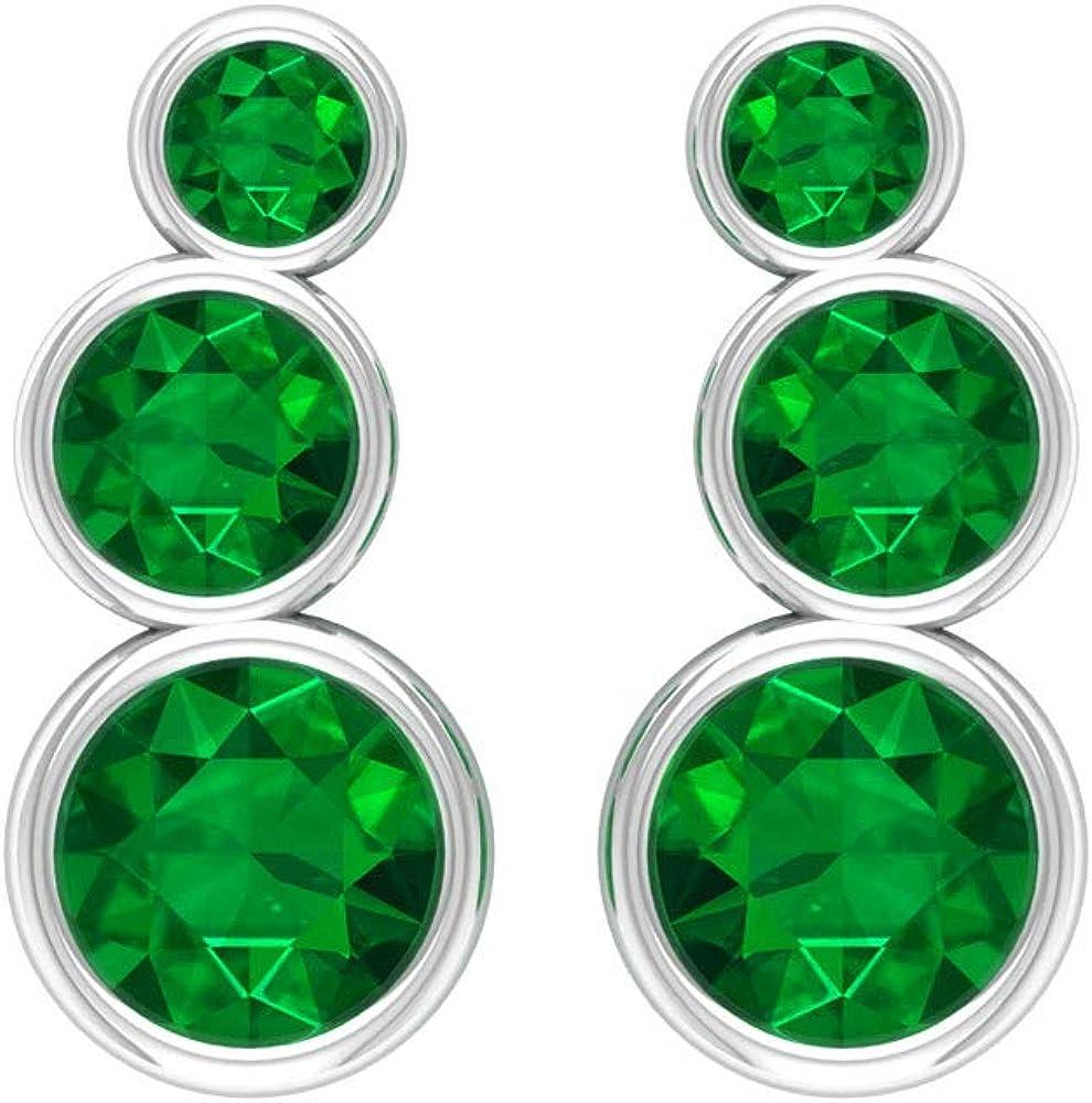 Pendientes de cartílago de esmeralda de 0,86 ct, certificado SGL, con piedras preciosas, pendientes apilables para dama de honor, pendientes escaladores, minimalistas para niñas, tornillo hacia atrás