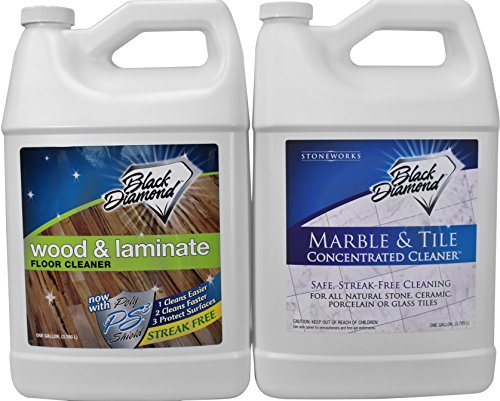 Black Diamond Wood & Laminate Floor Cleaner 1-gallon: for Hardwood, Real, Natural & Engineered Flooring –Biodegradable Safe for Cleaning All Floors. AND Black Diamond Marble & Tile Floor Cleaner 1- Gallon. Great for Ceramic, Porcelain, Granite, Natural Stone, Vinyl & Linoleum . No-rinse Concentrate (1, 2-Gallons)