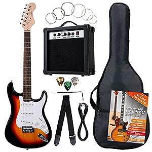 Rocktile Banger's Pack Komplettset E-Gitarre Sunburst (Verstärker, Tremolo, Tasche, Kabel, Gurt, Plecs, Ersatzsaiten und…