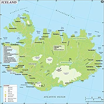 Amazon Com Islandia Mapa Laminado 36 W X 36 H Office Products