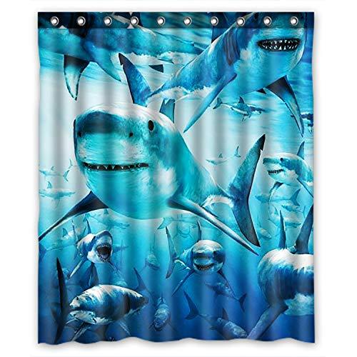 KXMDXA Sea Life Swimming Shark Art Sea Fish Cute Sea Animal Waterproof Polyester Bath Shower Curtain Size 60x72 Inch