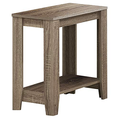 "Monarch Specialties I 3115 Accent End Side Lamp Table with Shelf, 24"" x 12"" x 22"", Dark Taupe"