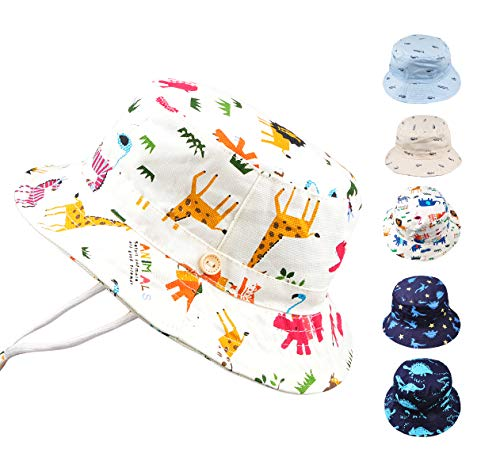 (Baby Toddler Kids Animal Breathable Bucket Hat Soft Cotton Sun Ray Protective Hat Adjustable for Grow with Chin Strap 4-8 Years-Animal#2)