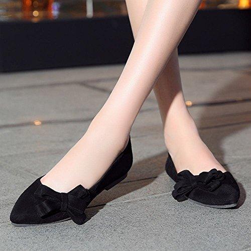 Show Shine Damesmode Sexy Boog Flats Instappers Schoenen Zwart