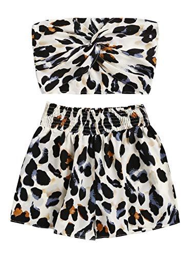Floerns Women's Leopard Print Twist Front Crop Two Piece Bandeau with Shorts Multi M
