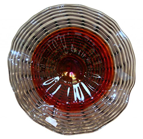 Hand Blown Art Glass Table Platter Plate Red Grey Lavender w/ Wall