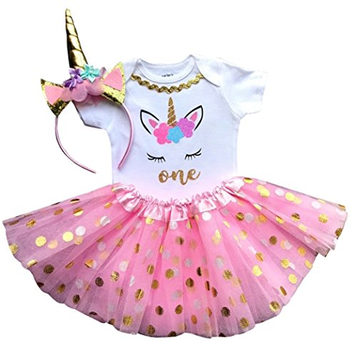 1st Birthday Outfit Baby Girl Tutu - Unicorn (18M Short, Pink-White-Gold)