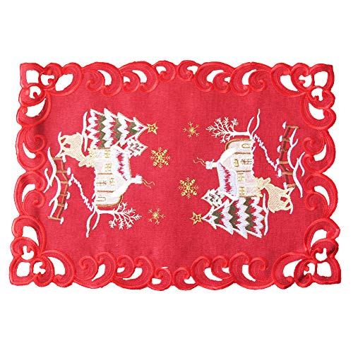 Bone & Tissue Christmas Embroidered Placemats, Set of 4 Snowflake, Christmas Moose Table Place Mats for Kitchen Dining Decor, 13 x 19 Inch