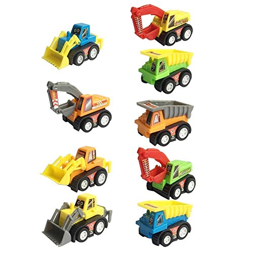 Mini Push Pull Back Car Model Kit Set Plastic 9 Pcs Play Vehicle Construction Excavator Dump Truck Playset Preschool