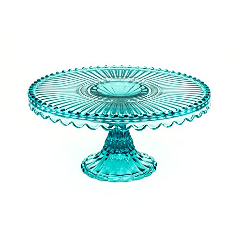 Loire Glass Round 7.75 inch Cake Stand - Blue …