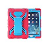 Ipad Mini 4 Case, Truvaluetech Water Resistant Shockproof Dirt Snow Sand Proof Survivor Extreme Military Heavy Duty Cover Case Kickstand for Apple Ipad Mini 4 Kids Children Gift (PINK+BLUE)
