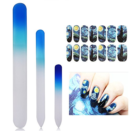 lass Nail Files Manicure Pedicure Set (3-pack) - with FREE Van Gogh Starry Nights decoration nail stickers - Stocking Stuffers ()