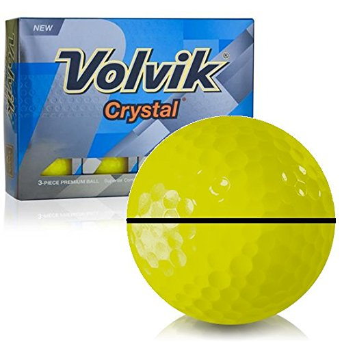 Personalized Crystal Golf Balls - Volvik Prior Generation Crystal Yellow AlignXL Personalized Golf Balls