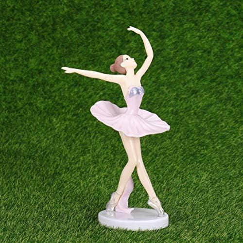 LIOOBO Pack de 3 Ballerine Statue Ornement de Bureau en Plastique Danse Fille Artisanat Figurines Rose