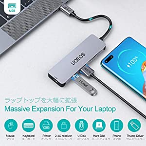 USB C Hub, UOEOS 5 in1 USB C to HDMI Adapter,Thunderbolt 3 USBc HDMI Card Reader Compatible with MacBook Pro, Surface…