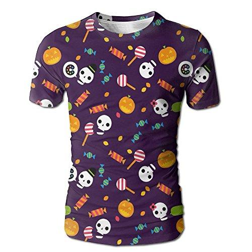HenSLK Men's Summer Halloween Skull Pumpkin Candy Holiday Casual Novelty Crew Neck Short Sleeve Tee -