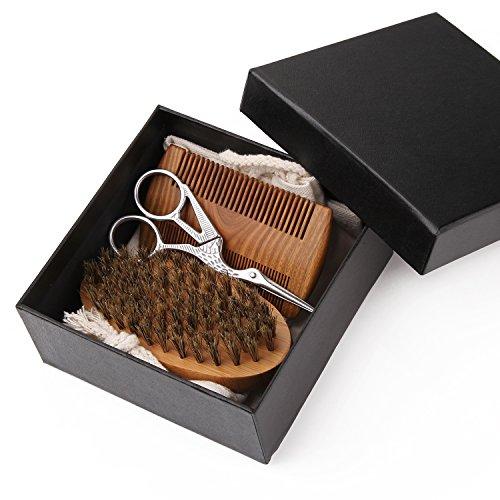 beard grooming kit for men sandalwood beard comb boar bristle beard brush and hair scissors. Black Bedroom Furniture Sets. Home Design Ideas