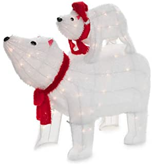 light up holiday lawn decoration polar bear set 2 piece set mommy and baby