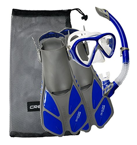 Open Heel Snorkeling Fins - Cressi Bonete Bag Light Weight Travel Fun Snorkeling Set, Gray/Blue, Small/Medium