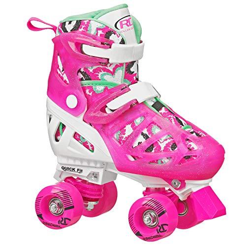 (Roller Derby Trac Star Girl's Adjustable Roller Skate, White/Pink, Large (3-6) (Renewed))