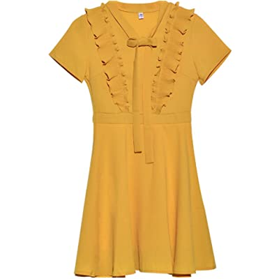 Vestido de Gasa de Color Liso para Mujer Verano con Cuello en v Falda Plisada Amarillo L código: Ropa y accesorios