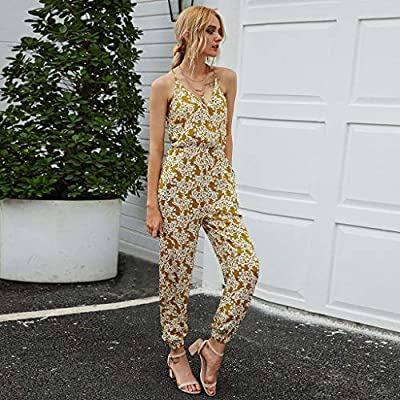 Women's Summer Print Tank Jumpsuit Casual Loose Sleeveless Beam Foot Elasitic Waist Jumpsuit Romper with Pockets: Clothing