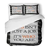 Emvency 3 Piece Duvet Cover Set Brushed Microfiber Fabric Breathable Life Quote on Blurred Positive Better Everyday Happy Aim Attitude Building Bedding Set with 2 Pillow Covers Twin Size