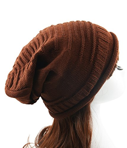 Century Star Women's Fall And Winter Warm Slouchy Stretchy Crochet Knitted Baggy Beanie Hat (Gold Extreme Chocolates)