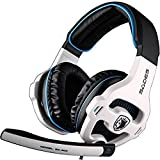 SA903 Stereo 7.1 Surround Sound Noise Canceling LED Light USB Wired Over Ear PC Gaming Headset Headphones with Mic - White
