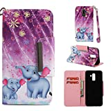 Wiitop Compatible Samsung Galaxy J8 Case, Galaxy J8 2019 Case, PU Leather Wallet Kickstand Wrist Strap Credit Card Slot Flip Full Body Protective Cover Magnetic Closure Stand Purple Fireworks Elephant